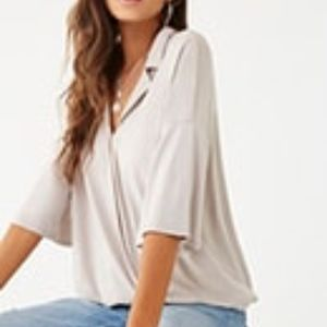 Surplice Notched-Collar Top